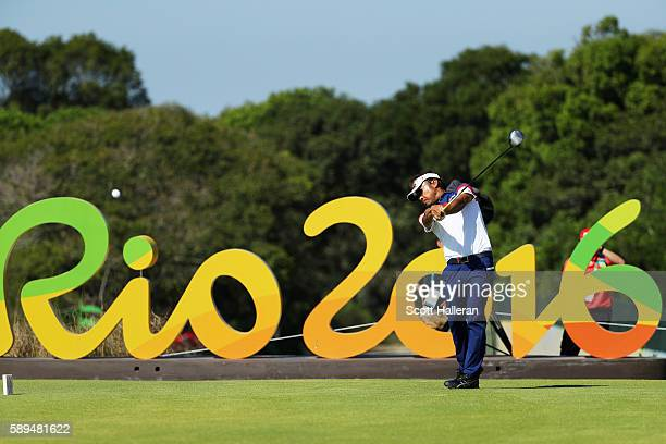 Shingo Katayama of Japan plays his shot from the 16th tee during the final round of men's golf on Day 9 of the Rio 2016 Olympic Games at the Olympic...