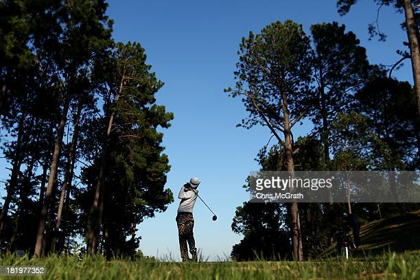 Shingo Katayama of Japan plays off the eighth tee during day two of the Panasonic Japan Open at Ibaraki Golf Club on September 27 2013 in Ibaraki...