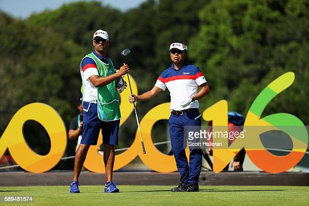 Shingo Katayama of Japan prepares to play from the first tee during the final round of men's golf on Day 9 of the Rio 2016 Olympic Games at the...