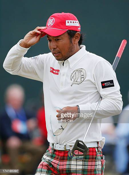 Shingo Katayama of Japan reacts after finishing his final round of the 142nd Open Championship at Muirfield on July 21 2013 in Gullane Scotland