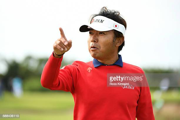 Shingo Katayama of Japan reacts to his birdie on the third green during the first round of men's golf on Day 6 of the Rio 2016 Olympics at the...