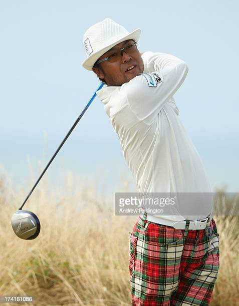 Shingo Katayama of Japan tees off on his 5th hole during the final round of the 142nd Open Championship at Muirfield on July 21 2013 in Gullane...
