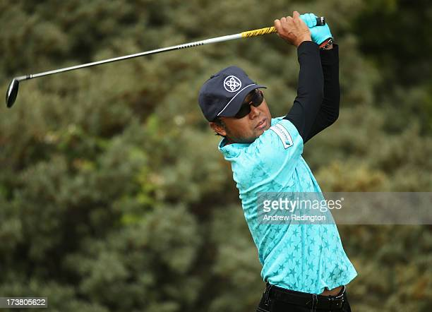 Shingo Katayama of Japan tees off on the 3rd during the first round of the 142nd Open Championship at Muirfield on July 18, 2013 in Gullane, Scotland.