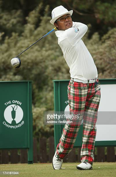 Shingo Katayama of Japan tees off on the 3rd hole during the final round of the 142nd Open Championship at Muirfield on July 21 2013 in Gullane...
