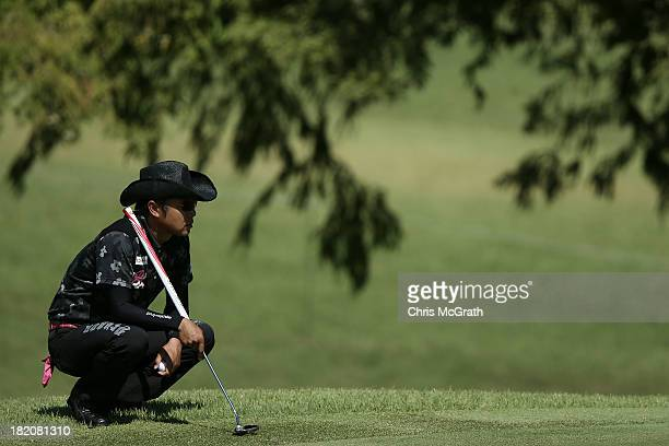 Shingo Katayama of Japan waits to putt on the sixth green during day three of the Panasonic Japan Open at Ibaraki Golf Club on September 28 2013 in...