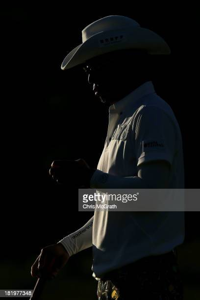 Shingo Katayama of Japan waits to putt out on the ninth green during day two of the Panasonic Japan Open at Ibaraki Golf Club on September 27 2013 in...