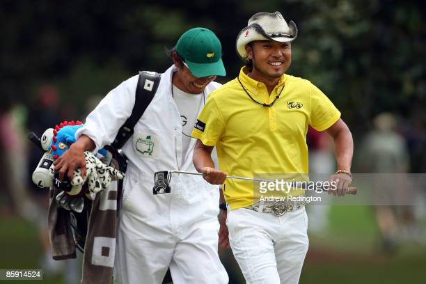 Shingo Katayama of Japan walks to the first green during the third round of the 2009 Masters Tournament at Augusta National Golf Club on April 11,...