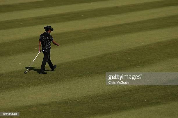 Shingo Katayama of Japan walks to the ninth green during day three of the Panasonic Japan Open at Ibaraki Golf Club on September 28, 2013 in Ibaraki,...