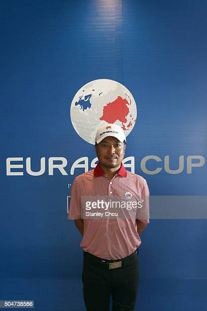 Shingo Katayama of Team Asia poses during the press conference ahead of the EurAsia Cup at Glenmarie GCC on January 13 2016 in Kuala Lumpur Malaysia
