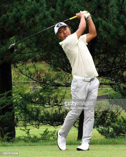 Shingo Katayama participates in a charity pro-am at Mori no Miyako Golf Club on July 29, 2018 in Taiwa, Miyagi, Japan.