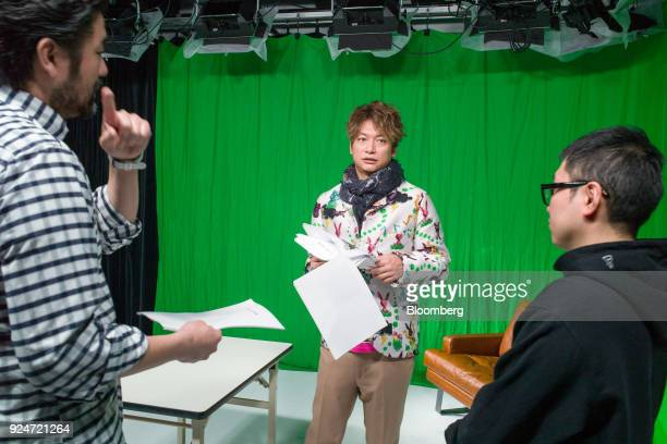Shingo Katori a singer actor and televison host middle attends a meeting with his staff in Tokyo Japan on Jan 15 2018 Katori as a member of SMAP one...