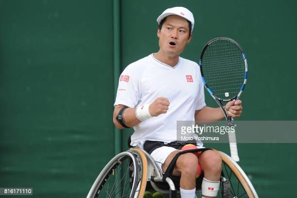 Shingo Kunieda of Japan celebrates a point in the Gentlemen's Wheelchair Singles semi final against Stefan Olsson of Sweden on day eleven of the...