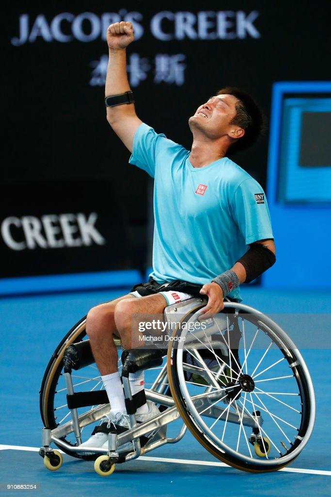 Shingo Kunieda of Japan celebrates after winning the Men's Wheelchair Singles Final against Stephane Houdet of France during the Australian Open 2018 Wheelchair Championships at Melbourne Park on January 27, 2018 in Melbourne, Australia.