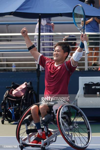 Shingo Kunieda of Japan celebrates defeating Alfie Hewett of Great Britain during their Wheelchair Men's Singles final match on Day Fourteen of the...