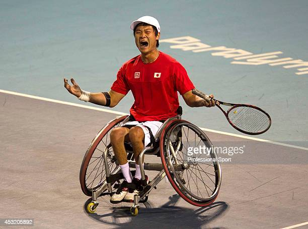 Shingo Kunieda of Japan celebrates victory over Stephane Houdet of France in the Mens Wheelchair Gold Medal match on day 10 of the London 2012...