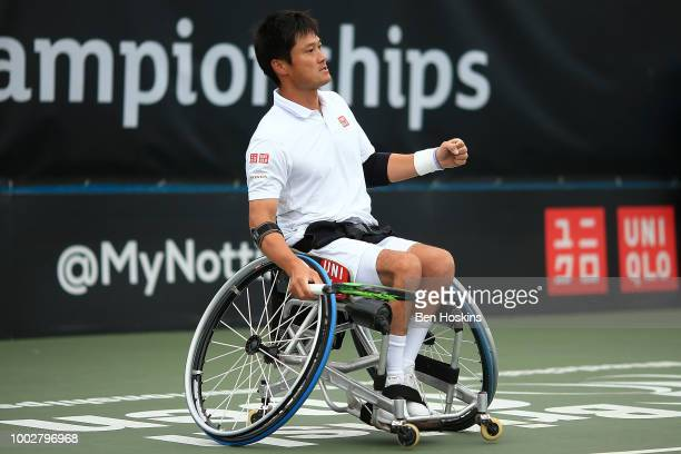 Shingo Kunieda of Japan celebrates winning a point during his semi final match against Gustavo Fernandez of Argentina on day four of The British Open...