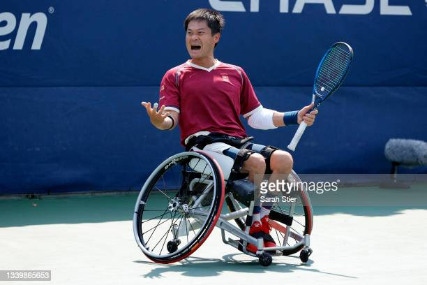 Shingo Kunieda of Japan celebrates winning championship point against Alfie Hewett of Great Britain during his Wheelchair Men's Singles final match...