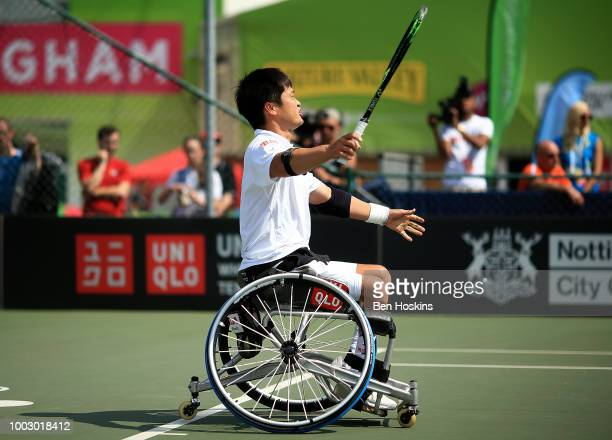 Shingo Kunieda of Japan celebrates winning his semi final match against Gustavo Fernandez of Argentina on day five of The British Open Wheelchair...