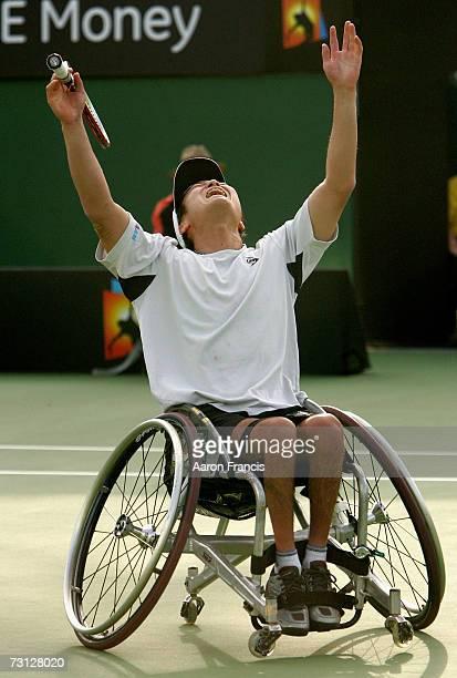 Shingo Kunieda of Japan celebrates winning his wheelchair final match against Michael Jeremiasz of France on day thirteen of the Australian Open 2007...