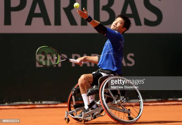 Shingo Kunieda of Japan competes in the mens singles wheelchair first round match against Stefan Olsson of Sweden during day twelve of the 2018...