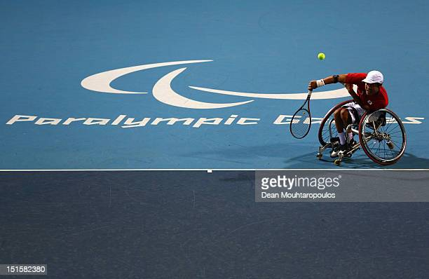 Shingo Kunieda of Japan in action against Stephane Houdet of France in the Mens Wheelchair Gold Medal match on day 10 of the London 2012 Paralympic...