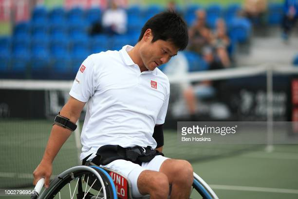 Shingo Kunieda of Japan looks on during his semi final match against Gustavo Fernandez of Argentina on day four of The British Open Wheelchair Tennis...