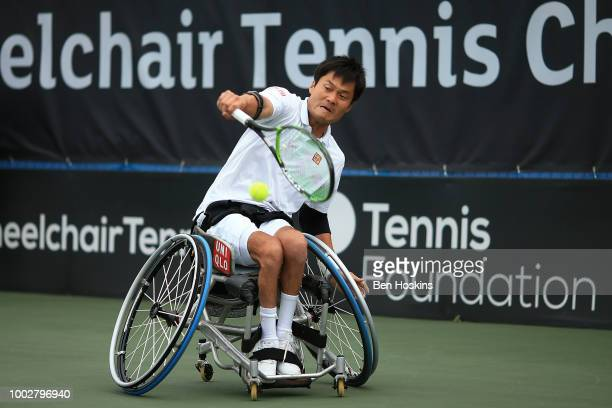 Shingo Kunieda of Japan plays a backhand during his semi final match against Gustavo Fernandez of Argentina on day four of The British Open...