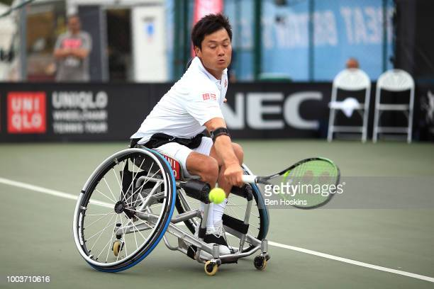Shingo Kunieda of Japan plays a backhand during the men's singles final against Stephane Houdet of France on day six of The British Open Wheelchair...