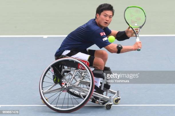 Shingo Kunieda of Japan plays a backhand during the Men's Singles semi final against Gustavo Fernandez of Argentina on day four of the Wheelchair...