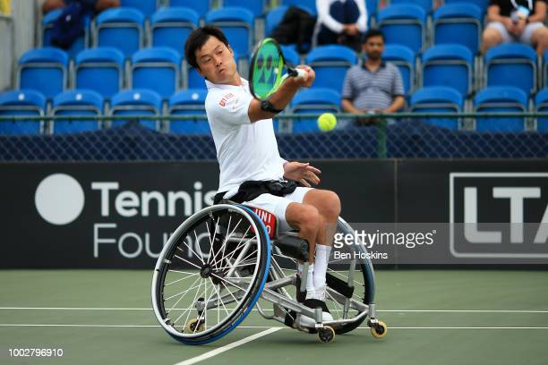 Shingo Kunieda of Japan plays a forehand during his semi final match against Gustavo Fernandez of Argentina on day four of The British Open...
