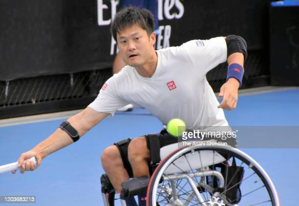 Shingo Kunieda of Japan plays a forehand in the Men's Wheelchair Singles Final against Gordon Reid of Great Britain on day fourteen of the 2020...