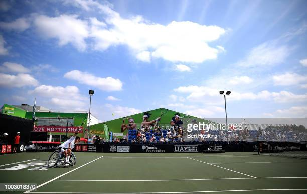 Shingo Kunieda of Japan serves during his semi final match against Gustavo Fernandez of Argentina on day five of The British Open Wheelchair Tennis...
