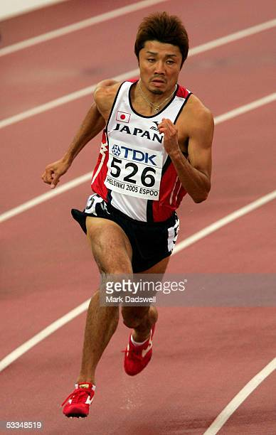 Shingo Suetsugu of Japan competes during the men's 200 metres quarter final 10th IAAF World Athletics Championships on August 10 2005 in Helsinki...