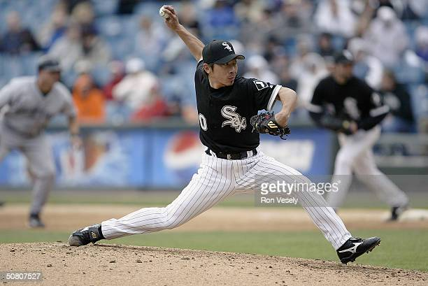 Shingo Takatsu of the Chicago White Sox on the mound during the game against the Tampa Bay Devil Rays at US Cellular Field on April 24 2004 in...