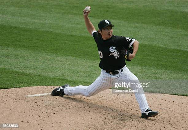 Shingo Takatsu of the Chicago White Sox pitches against the Kansas City Royals on May 5 2005 at US Cellular Field in Chicago Illinois The White Sox...