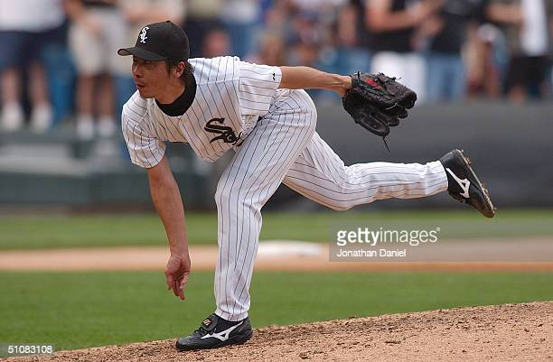 Shingo Takatsu of the Chicago White Sox pitches during a game against the Chicago Cubs on June 26 2004 at US Cellular Field in Chicago Illinois The...
