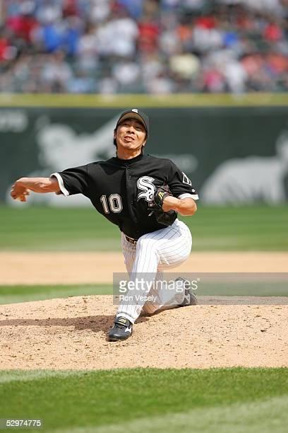 Shingo Takatsu of the Chicago White Sox pitches during the game against the Kansas City Royals at US Cellular Field on May 5 2005 in Chicago Illinois...