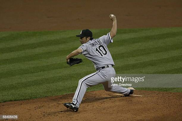 Shingo Takatsu of the Chicago White Sox pitches during the game against the Cleveland Indians at Jacobs Field on July 16 2005 in Cleveland Ohio The...