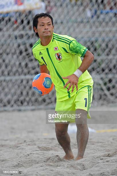 Shingo Terukina of Japan in action during the beach soccer international friendly between Japan and Switzerland at Odaiba Kaihin Koen on September 8...