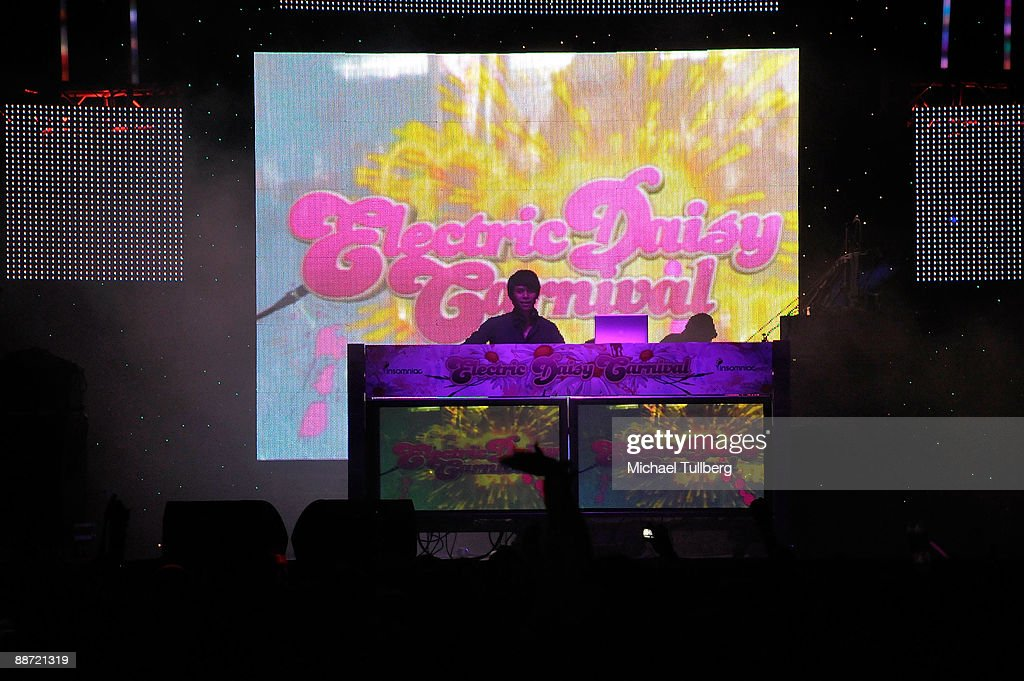 DJ Shinichi Osawa performs at the 13th annual Electric Daisy Carnival electronic music festival on June 26, 2009 in Los Angeles, California.