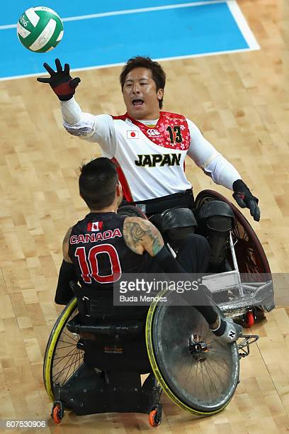 Shinichi Shimakawa of Japan in action during the Men's Wheelchair Rugby Bronze Medal match against Canada on day 11 of the Rio 2016 Paralympic Games...