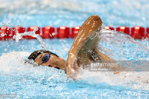 Shinichi Tomii of Japan competes in the Swimming 200m Freestyle event in the Men's Modern Pentathlon on Day 15 of the London 2012 Olympic Games on...
