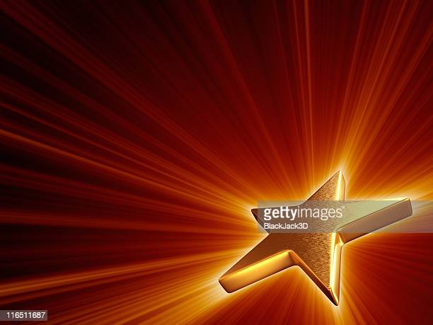A shining gold star emitting bright light