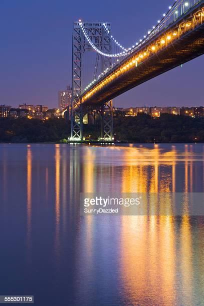 shining reflections - george washington bridge - george washington bridge stock pictures, royalty-free photos & images