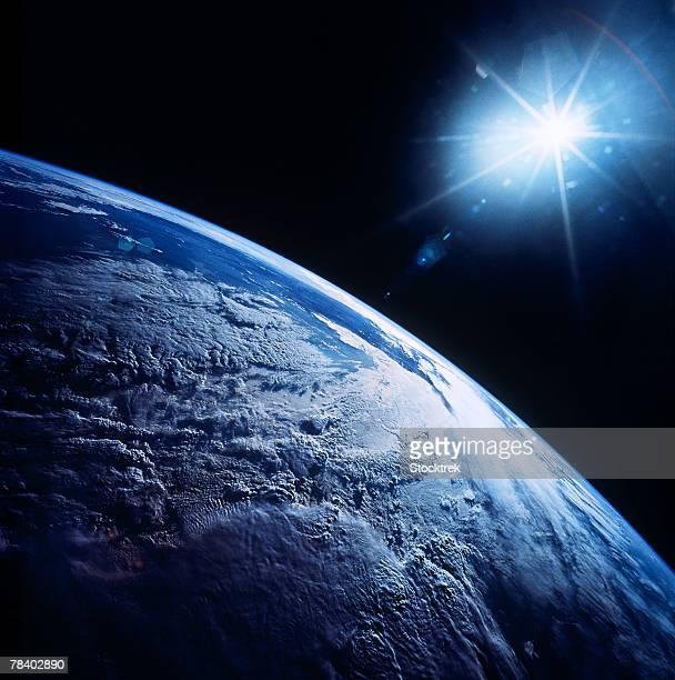Shining star over earth