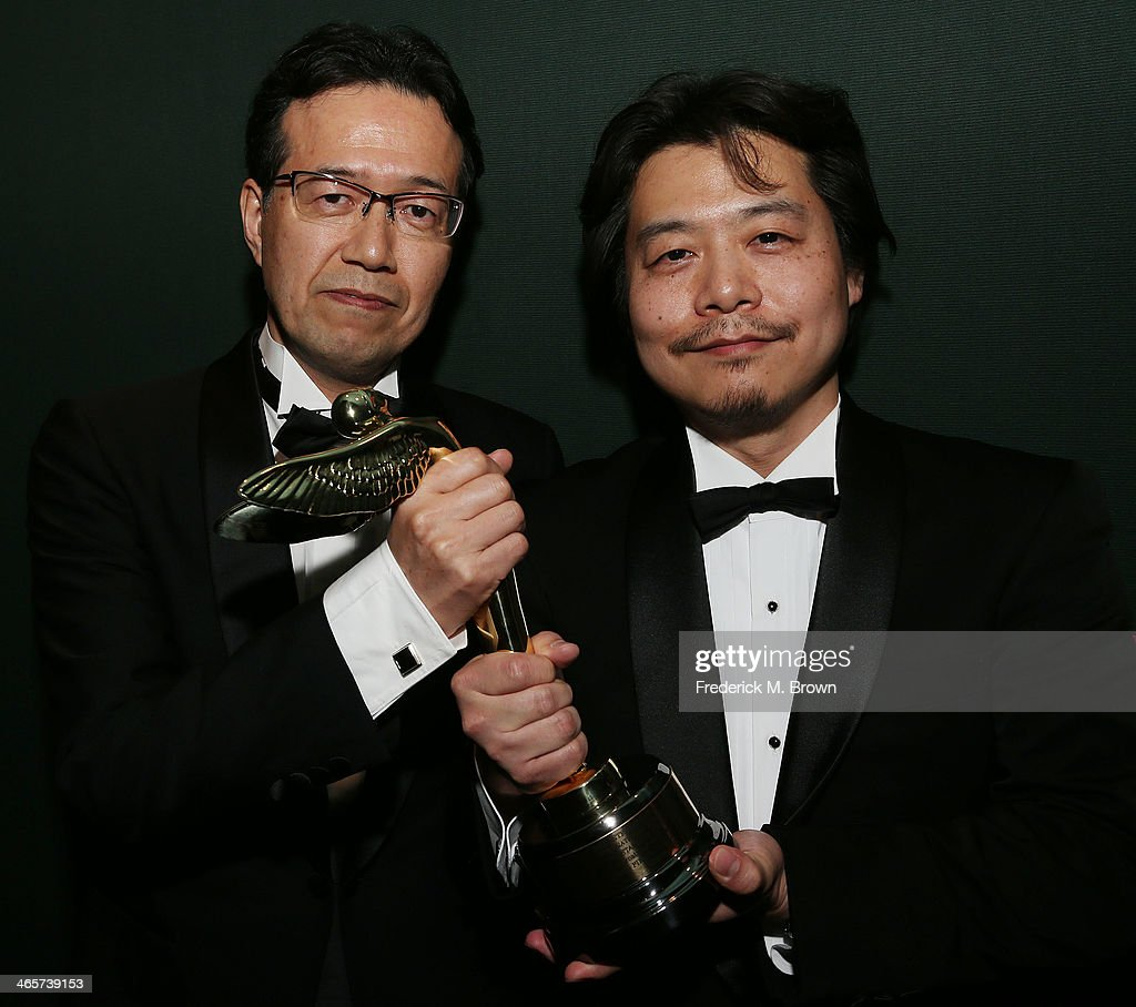 Shinji Aramaki (L) and Kunihiko Mita are being honored during the 2014 International 3D and Advanced Imaging Society's Creative Arts Awards at the Steven J. Ross Theatre, Warner Bros. Studios on January 28, 2014 in Burbank, California.
