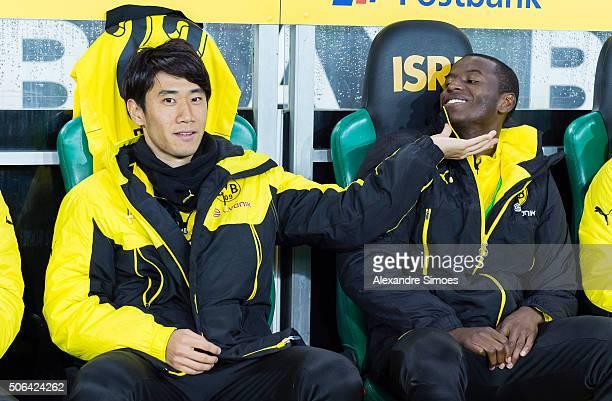 Shinji Kagawa and Adrian Ramos of Borussia Dortmund prior to the Bundesliga match between Borussia Moenchengladbach and Borussia Dortmund at...