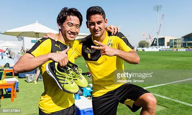 Shinji Kagawa and Ilkay Guendogan during a training session of the Borussia Dortmund training camp at Dubai Nad Al Sheba Sports Complexon January 9...