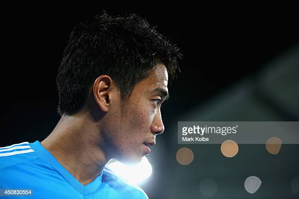 Shinji Kagawa looks on during a Japan training session at the Dunas Arena in Natal on June 18 2014 in Natal Rio Grande do Norte