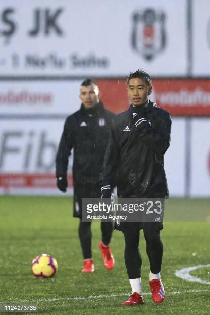 Shinji Kagawa of Besiktas attends a training session ahead of Turkish Super Lig match against Evkur Yeni Malatyaspor at BJK Nevzat Demir facilities...